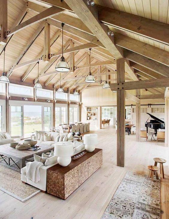 Barn House Vaulted Ceilings Living Room: a beach barn house on Martha's Vineyard by Hutker Architects and Liz Stiving-Nichols of Martha's Vineyard Interior Design.