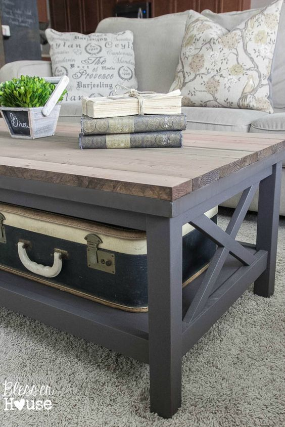 Barn Wood Top Coffee Table | Bless'er House - Gorgeous way to cover up a scratched, peeling veneer coffee table top!