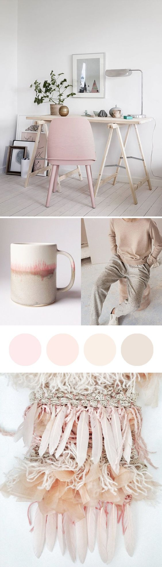 Beautiful pastel pinks moodboard - inspired by the Pantone Colour of the Year 2016