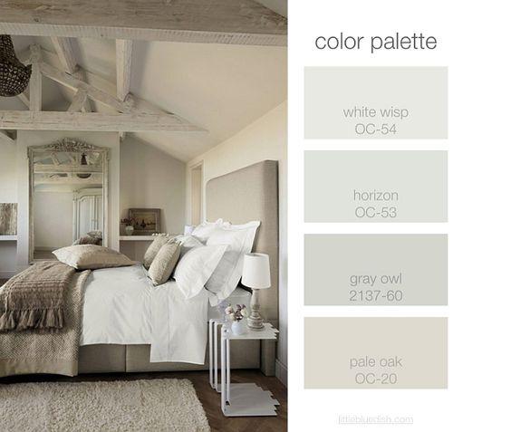Bedroom Color Palette. White Wisp OC-54 Benjamin Moore. Horizon OC-53 Benjamin Moore. Gray Owl 2137-60 Benjamin Moore. Pale Oak OC-20 BM