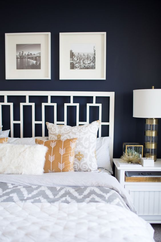 Bedroom Tour A grey and navy moody bedroom