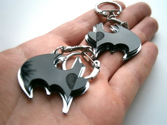 Best Friends Batman Keychain - Friendship Keychains - Batman and Robin - Laser Cut Acrylic - Engraved Heart. $, via Etsy.