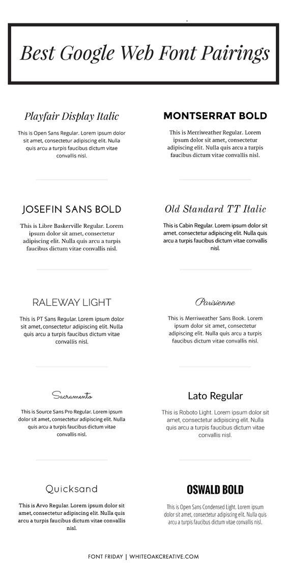 Best Google Web Font Pairings | White Oak Creative