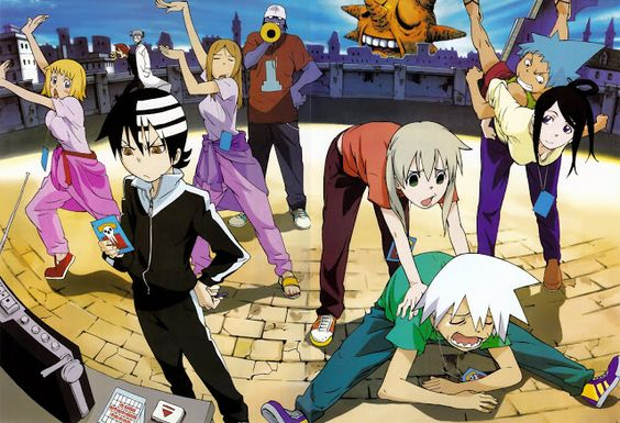 Black Star, Tsubaki, Liz, Patty, Death the Kid, Maka, Soul, Sid, Stein, Spirit