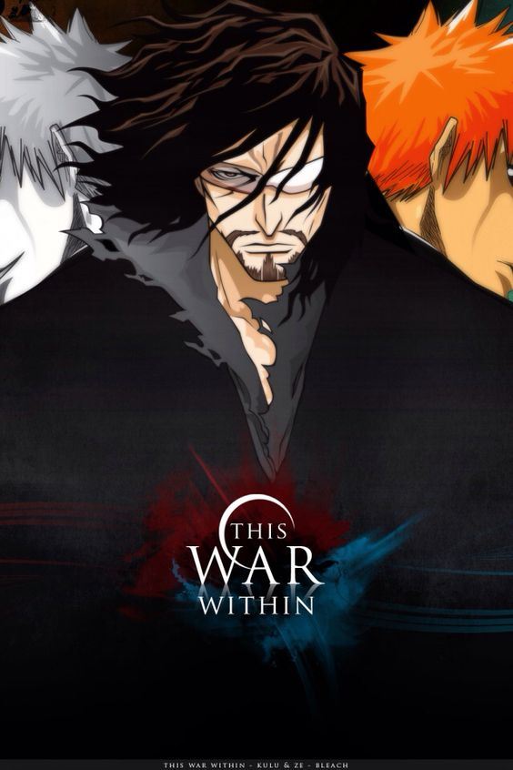 Bleach Anime. With Zangetsu (middle), Shirosaki/Hichigo/Inner Hollow/ Zangetsu spirit (Left side), and Ichigo (Right).