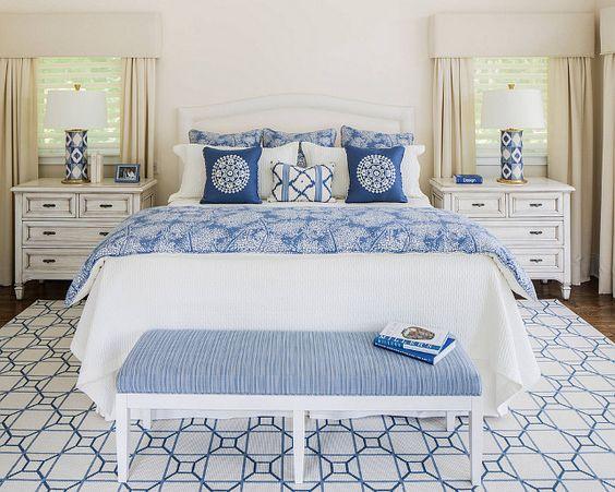 Blue and white bedroom. #Blueandwhitebedroom Kim E Courtney Interiors & Design Inc.