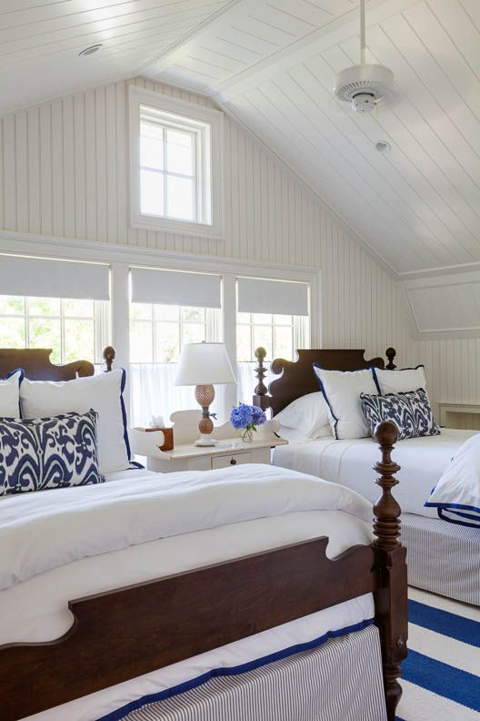 blue and white guest bedroom