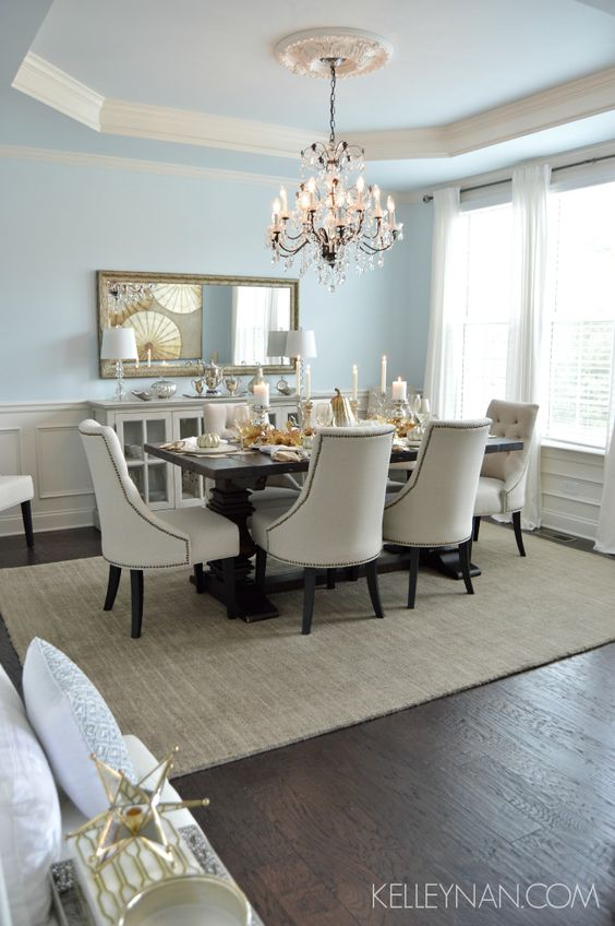 Blue dining room | tray ceiling | fall table | fall tablescape | metallic tablescape | restoration hardware trestle table | world market linen lydia chairs | neutral sideboard | gray dining sideboard | white ikea ritva panels