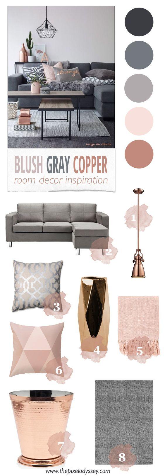 Blush Gray Copper Room Decor Inspiration - The Pixel Odyssey