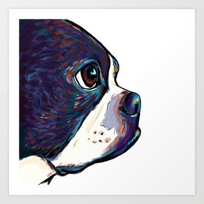 Boston Terrier Art Print by Cartoon Your Memories - $