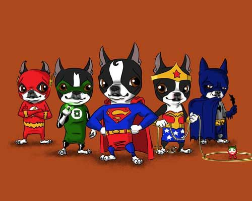 Boston terrier Justice league dog art print by rubenacker on Etsy, $