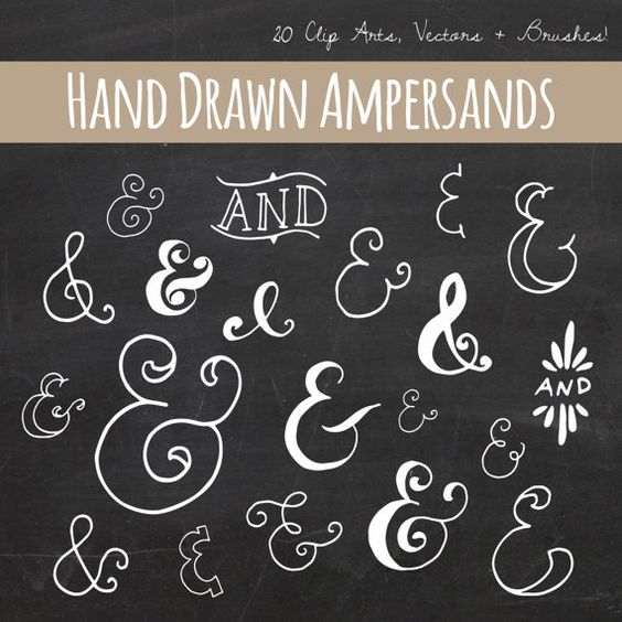 Chalkboard Ampersand Clip Art // Plus Photoshop Brushes // Hand Drawn Calligraphy // And Symbol // Vector // Commercial Use on Etsy, $