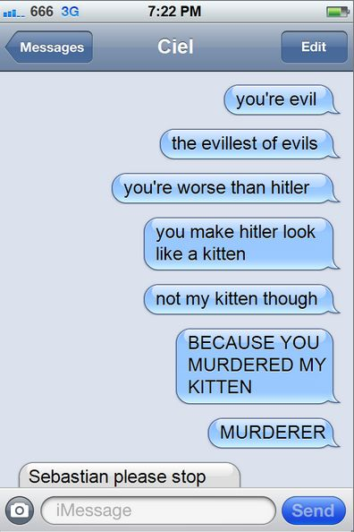 Ciel, You'd better make it up to Sebastian before he tars out your soul there and then
