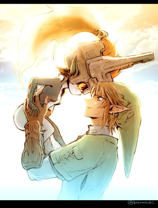 [Click through to see the rest!] Midna and Link ||| Legend of Zelda: Twilight Princess Fan Art by karasuki on Tumblr