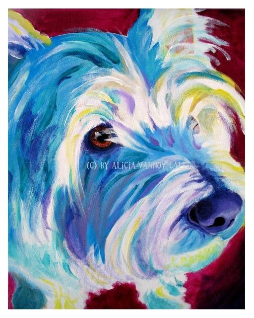 Colorful Pet Portrait Westie Dog Art Print 8x10 by Alicia VanNoy Call