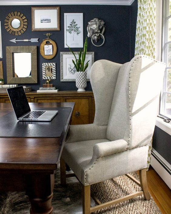 Come along on the tour of our cozy home office! The dark charcoal walls, eclectic gallery wall, and bright built-ins make this a favorite space in our home!