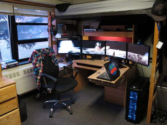 Cool setup. I see a quad-monitor setup.