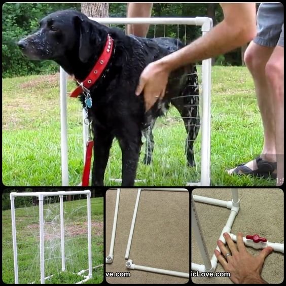 Custom Dog Washer out of PVC pipes--- This will give you a cube-shaped dog wash that can stand on its own so you can have both hands on your dog all the time during the bath. #Dog #Washer #DIY #PVC
