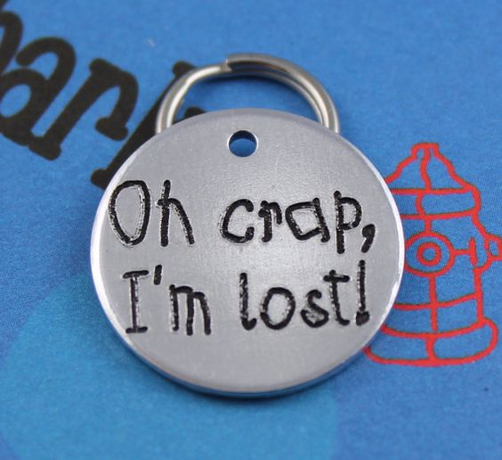 Cute Dog Tag Customized Oh Crap I'm Lost Pet by critterbling