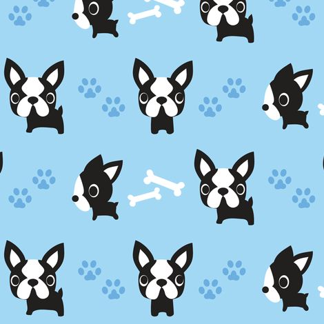 Cute French Bulldogs - Blue fabric by boredinc on Spoonflower - custom fabric. Looks more like a boston terrier.