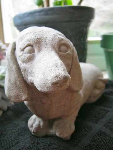 Dachshund Statue - Cement Garden Decor