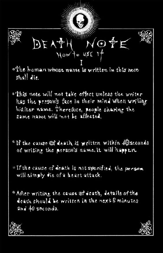 Death Note -- how to use. I'm on book 8 of this manga -- highly recommended!