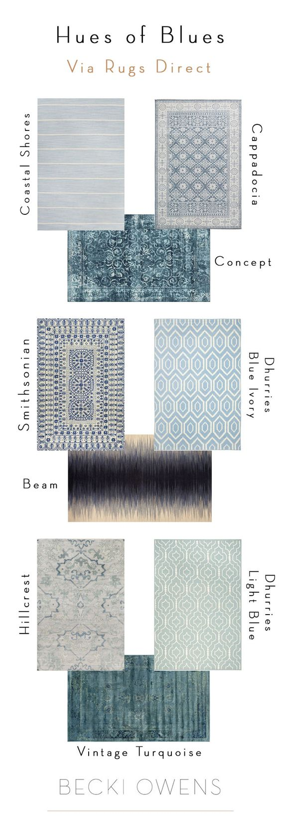 Decorating with Hues of Blues | Styling tips from Becki Owens + Rugs Direct