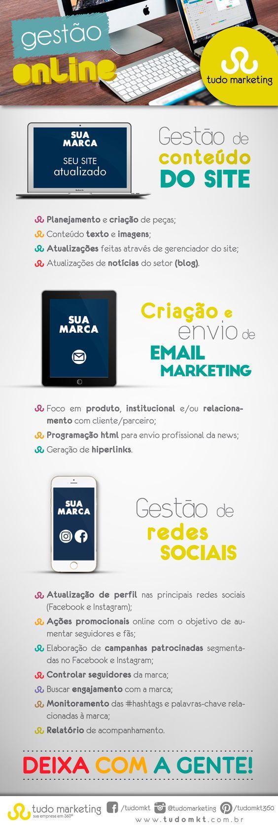 Deixa com a gente o gerenciamento online do seu negócio! #TudoMarketing #GestãoOnline #RedesSociais #Site #EmailMarketing #Marketing #Empresa360