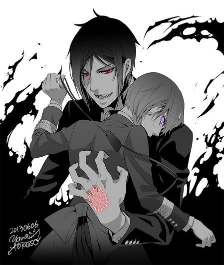 Demon Sebastian and Ciel | From Yana Toboso's blog.