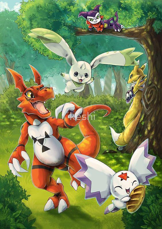Digimon. renimon fox terriermon bunny geomon dinosour kalomon cuty puple and white flying thing and impmon human like digimon.