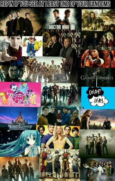 Doctor Who, Harry Potter, Hunger Games, Divergent, Disney, Pokemon, Star Wars, Narnia, Avengers, should I go on???