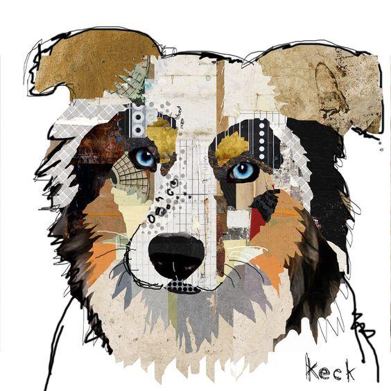 Dog Art of Australian Shepherd on Canvas Print