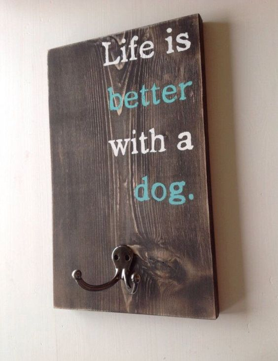 Dog leash holder - Custom leash holder - Pet supply storage by ClearbrookCrafts on Etsy