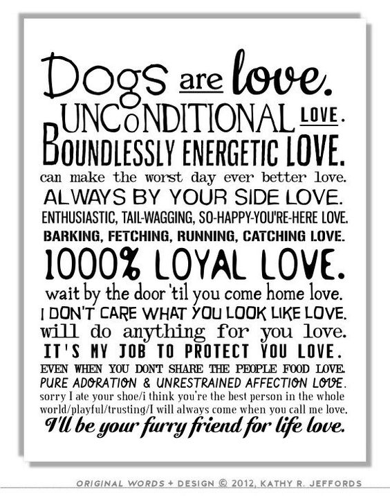 Dogs Are Love Typographic Print. Sentimental Pet Poem. Dogs Wall Art. I Love My Dog Quotes Poster. Gift For Dog People Or Animal Rescue. on Etsy, $