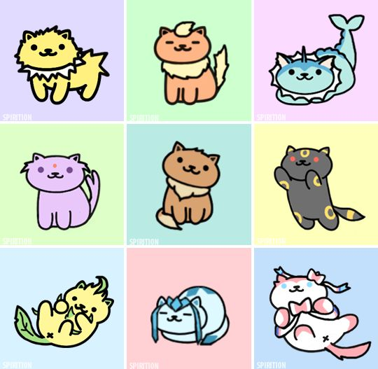 Eeveelutions as Neko Atsume kitties