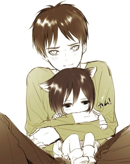 Eren with neko mikasa eren x  he has that look like