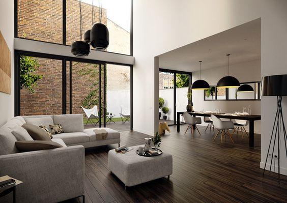 Espace à vivre moderne lumineux et spacieux #salon
