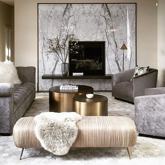 Family room fireplace surround is marble, love the 2 coffee tables | Canadian interior designer Nam Dang Mitchell