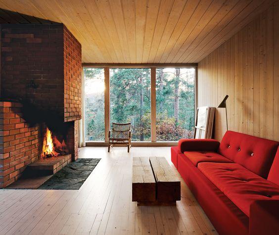 #fireplace #fire #livingroom #lounge #indoor #interior #modern #modernarchitecture #wood #brick #Scandinavian #Norway   Photo by Ivan Brodey