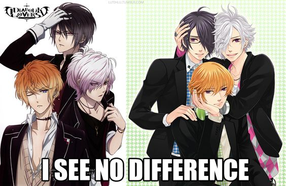 first time I saw Brothers conflict all I could think about was Diabolik Lovers because gosh the brothers are just so  appearance anyway