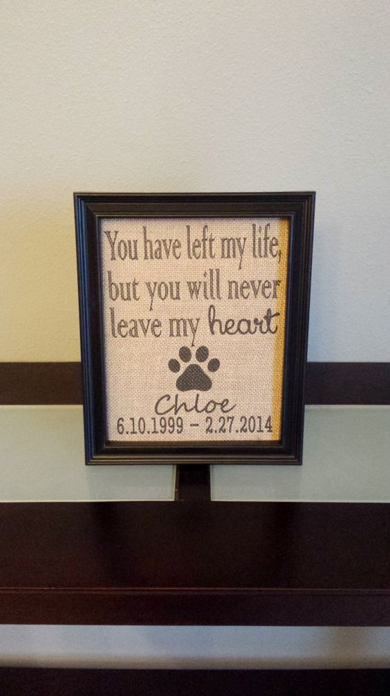 Framed Burlap Print - Pet Memorial - You have left my life, but you will never leave my heart - Dog Cat - Deceased Pet - Memory Frame - 8x10