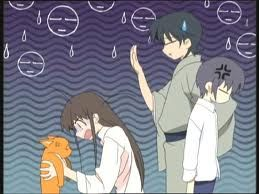 Fruits Basket: Tohru: ooooooh! I turned him into a cat! Oh no! I'm soooo sorry! I'm so sorry!  Shigure: oh well. It's alright. No worries☺  Yuki: ....  Kyo: .....  XDXDXD