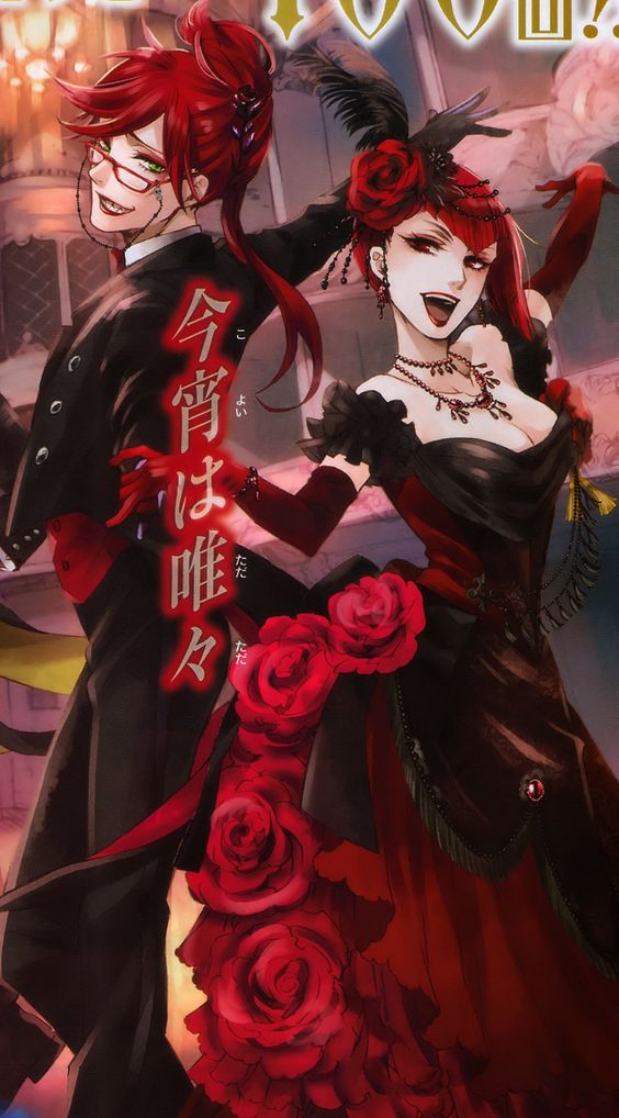 """funtomscandy: """" """" Kuroshitsuji 100th chapter cover """" Just look at how gorgeous & glorious both of them are! This it the first time I've ever seen Grell with lipstick *0* I miss Madam too much!!!!!"""