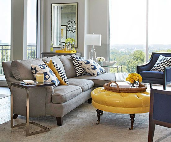 Grey Yellow Living Room Kitchen   BHG - living rooms - yellow and gray living room, light gray walls ...