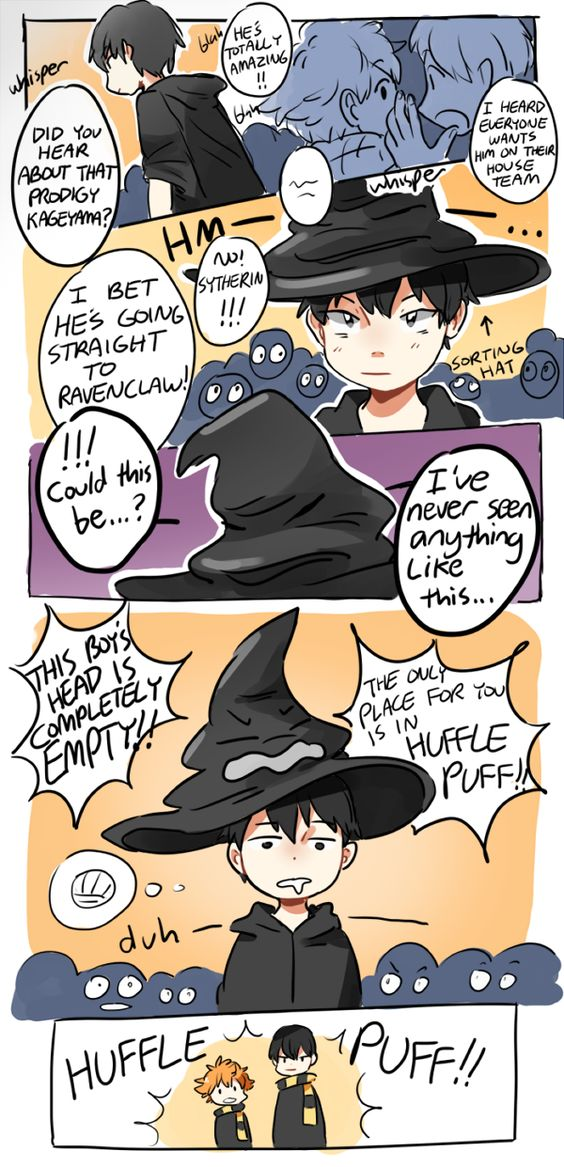 Hahaha why people are so mean whith huffle puff? I'm in huffle puff - Haikyuu
