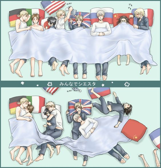 Hetalia Sleepover! ♥ Top Pic: before going to sleep. Bottom Pic: after going to sleep (or at least trying to sleep despite the ) I'd so love to be Japan with America snuggled up close to  would you love to snuggle with?