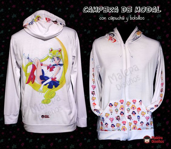 Hoodie Sailor Moon Sweatshirt Coat Jacket of Modal with design of Sailor Moon This sweatshirt is made with high quality materials. The printing method used is #SailorMoon