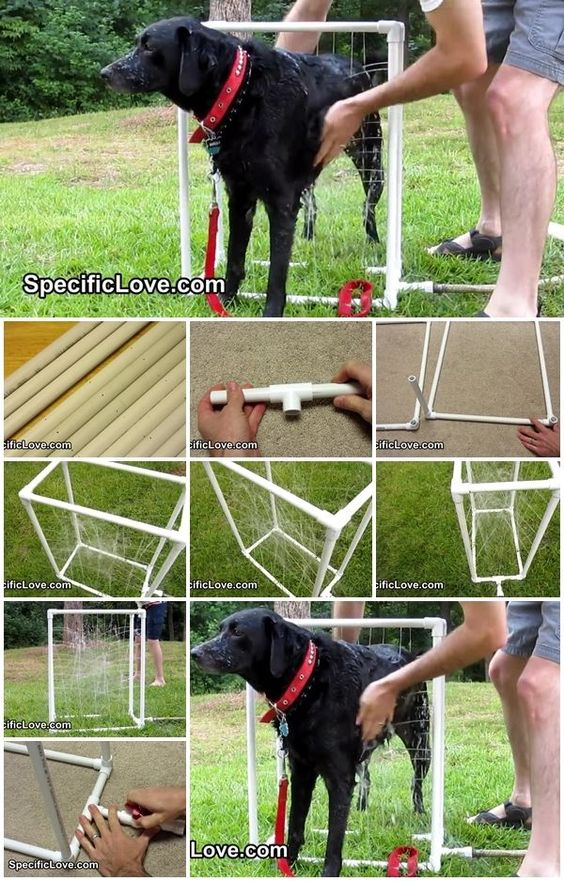 How to Make PVC Dog Wash Certainly an easier way to bathe a large dog outside in warm  chase. Love this.