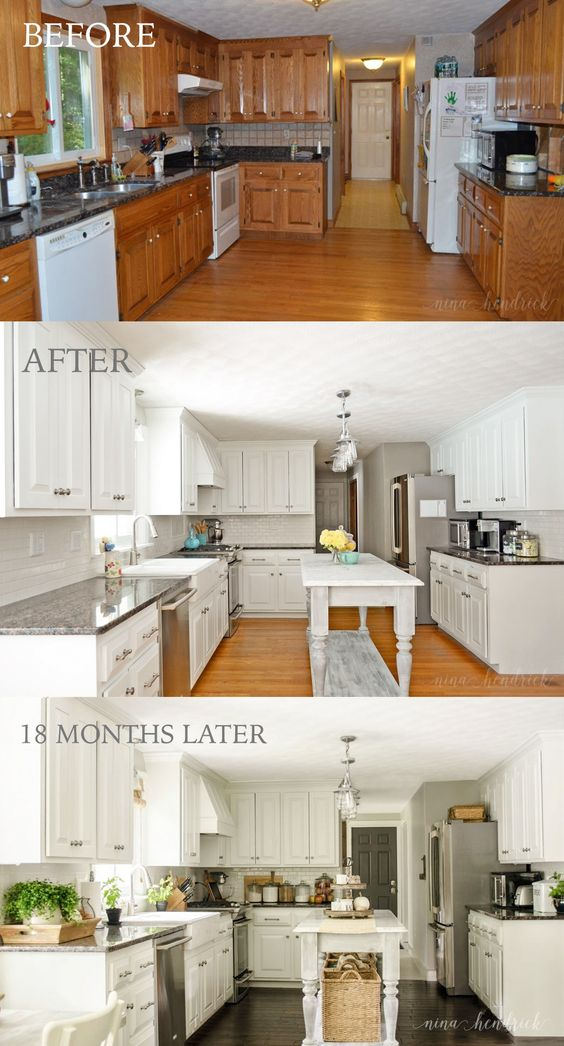 How We Painted Our Oak Cabinets and Hid the Grain