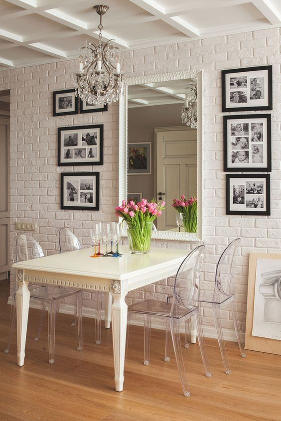 I love the idea of a mirror right next to the dining table to make the dinner party appear twice as big and also making the table appear more full!